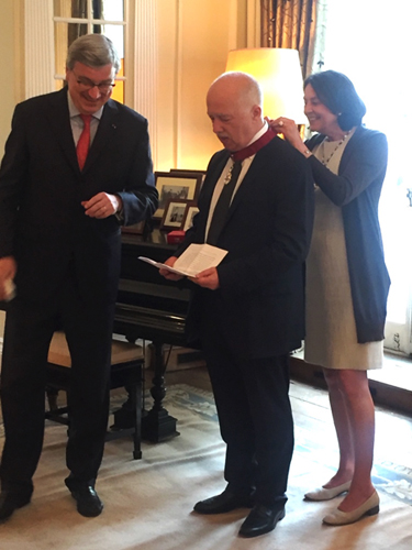 Philip Mansel receiving the Order of the Crown, Belgian Embassy, London, 10 June 2016